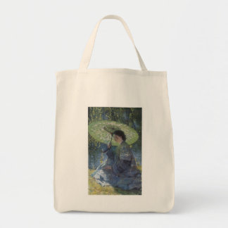 Guy Rose: The Green Parasol Grocery Tote Bag