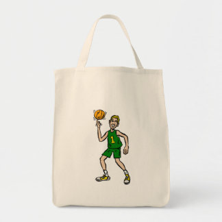 Guy spinning ball on finger grocery tote bag