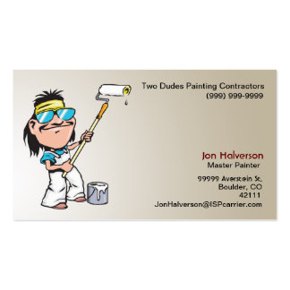 Guy With a Roller Painting Business Cards