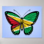 Guyana Butterfly Flag on Blue Poster