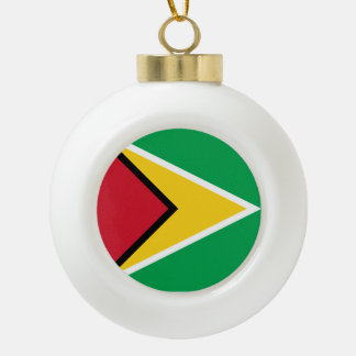Guyana Flag Ceramic Ball Christmas Ornament