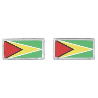 Guyana Flag Silver Finish Cuff Links