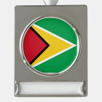 Guyana Flag Silver Plated Banner Ornament
