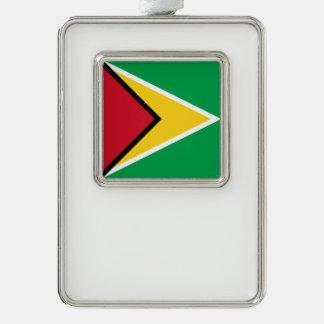 Guyana Flag Silver Plated Framed Ornament