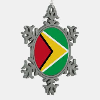 Guyana Flag Snowflake Pewter Christmas Ornament