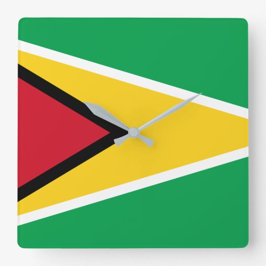 Guyana Flag Square Wall Clock