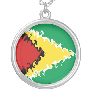 Guyana Gnarly Flag Silver Plated Necklace