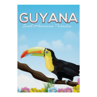 Guyana South american paradise travel poster
