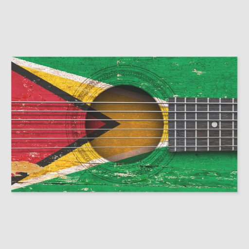 Guyanese Flag on Old Acoustic Guitar Stickers