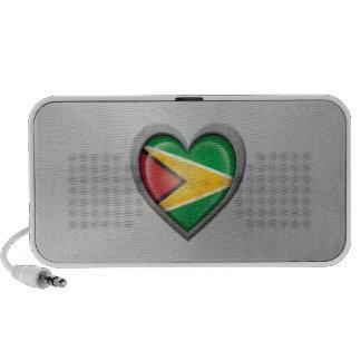 Guyanese Heart Flag Stainless Steel Effect Travel Speakers