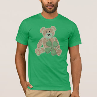 Guys cute shamrock teddy bear St. Pat's day tee