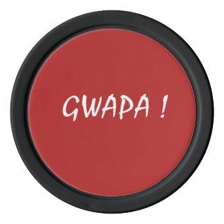 gwapa text Cebuano Filipino Tagalog Poker Chips