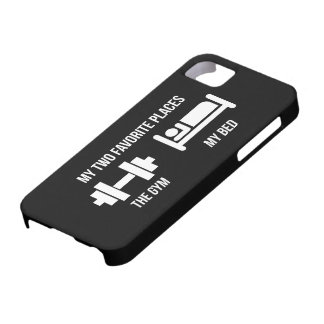 Gym and Bed - Funny Cartoon Pictogram - Novelty iPhone 5 Cover