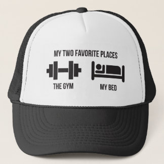 Gym and Bed - Funny Cartoon Pictogram - Novelty Trucker Hat