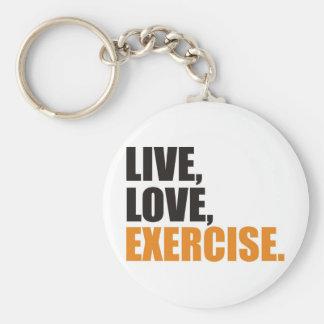 gym basic round button key ring