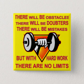 Gym Dumbbell There Are No Limits 15 Cm Square Badge