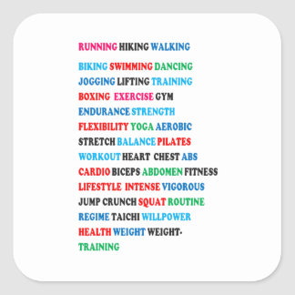 GYM EXERCISE Tag Words RUNNING HIKING WALKING Square Sticker