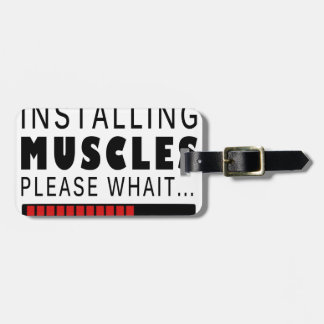 Gym fitness and muscles luggage tag
