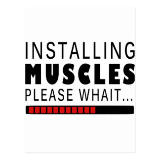 Gym fitness and muscles postcard