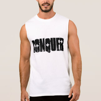 GYM FITNESS BODYBUILDING & weightlifting CONQUER Sleeveless Tee