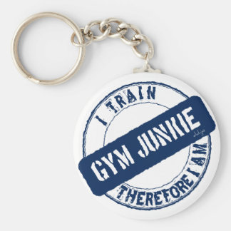 GYM JUNKIE. I TRAIN THEREFORE I AM. blue Basic Round Button Key Ring