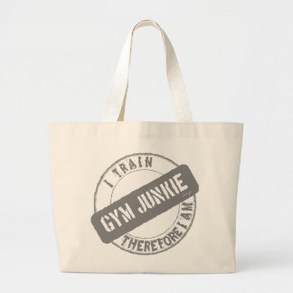 GYM JUNKIE I TRAIN THEREFORE I AM gray Canvas Bag