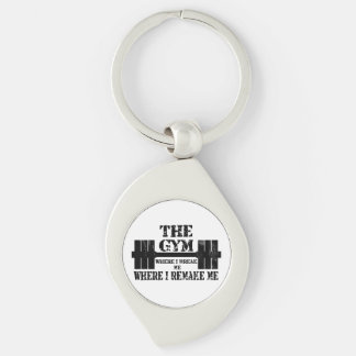 Gym Motivation Silver-Colored Swirl Key Ring