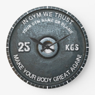 Gym Owner Fitness Workout Vintage Weight Funny Large Clock