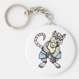 Gym rat!  Customizable! Basic Round Button Key Ring