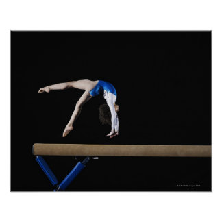 Gymnast (9-10) flipping on balance beam, side poster