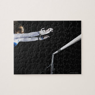 Gymnast (9-10) reaching for uneven bars 2 jigsaw puzzle