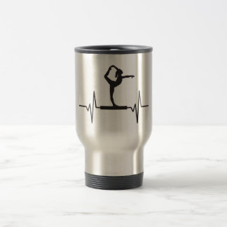 Gymnast Balance Beam - Heartbeat Pulse Graphic Travel Mug