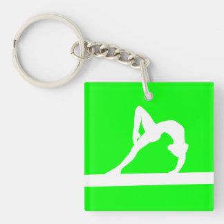 Gymnast Keychain w/Name Green