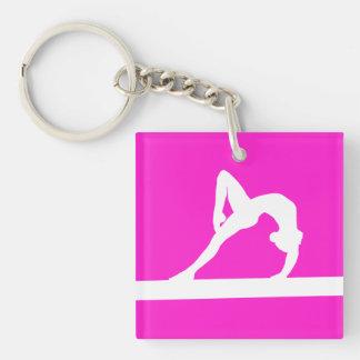 Gymnast Keychain w Name Pink