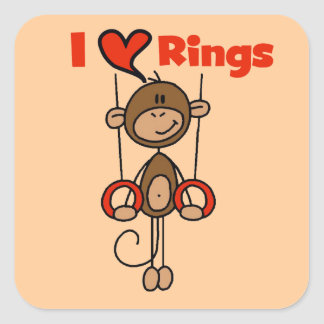 Gymnast Loves Rings Square Sticker
