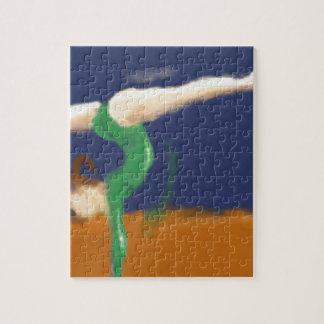 Gymnast on Balance Beam Art Jigsaw Puzzle