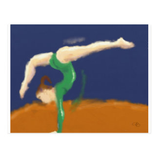 Gymnast on Balance Beam Art Postcard