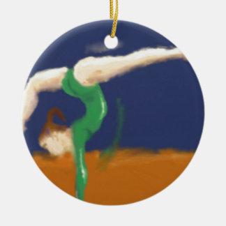 Gymnast on Balance Beam Art Round Ceramic Decoration