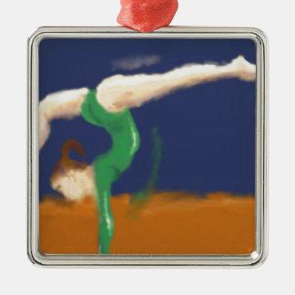 Gymnast on Balance Beam Art Silver-Colored Square Decoration