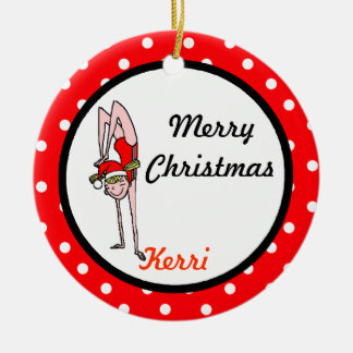 Gymnast Personalize Ornament Handstand Girl