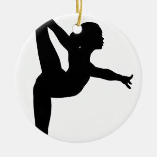 Gymnast Silhouette Ceramic Ornament