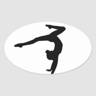 Gymnast Stag Handstand Gifts Oval Sticker