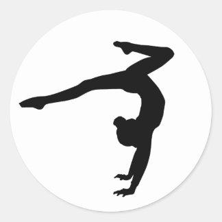 Gymnast Stag Handstand Gifts Round Sticker
