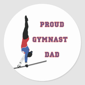 GymnastChick Proud Dad Classic Round Sticker