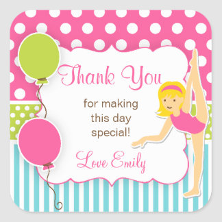 Gymnastic Birthday Favor Tag Square Sticker