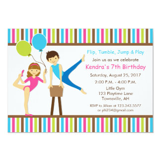 Gymnastic Birthday Invitation Girl and Boy
