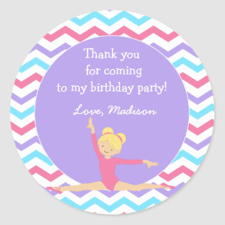 Gymnastic Birthday Party Favor Stickers