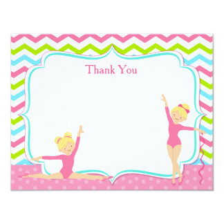 Gymnastic Birthday Thank You Notes Card