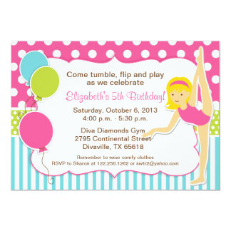 Gymnastic Blonde Girl Birthday Party Card