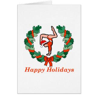 Gymnastic Happy Holidays Wreath Card
